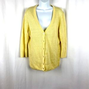 Talbots Linen button front cardigan sweater LP